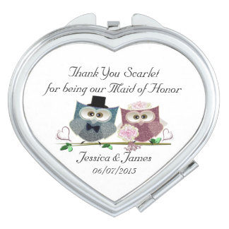 Maid of Honor Heart Compact Mirror Favor Gift