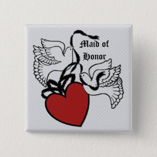 Maid Of Honor Heart Doves Button