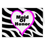 Maid Of Honor (Heart Zebra Stripes) Greeting Cards