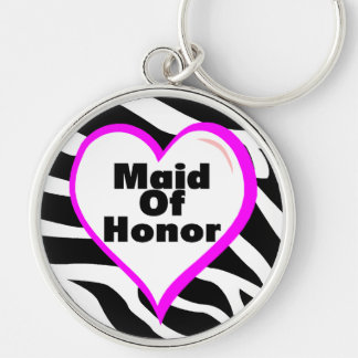 Maid Of Honor (Heart Zebra Stripes) Keychain
