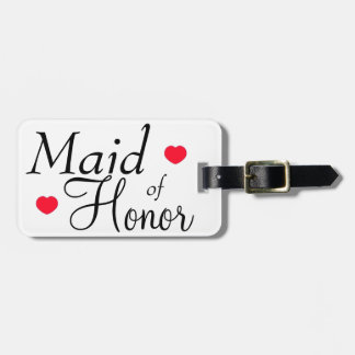 Maid of Honor Hearts Luggage Tag