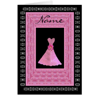 Maid of Honor Invitation PINK Dress Petal Trim Card
