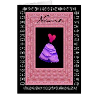 Maid of Honor Invitation PURPLE Dress Petal Trim Greeting Cards