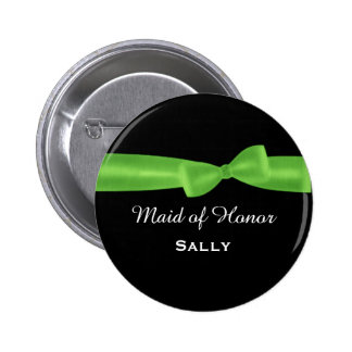 MAID OF HONOR Lime Green Bow Wedding Custom V04 Button