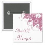 Maid Of Honor Mauve Bouquet Button