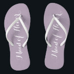 """Maid of Honor Mauve Color Flip Flops<br><div class=""""desc"""">Gift your wedding bridesmaids with these stylish Maid of Honor flip flops that are a mauve/pale purple color to complement your wedding color scheme. Select foot size along with other options. You may customize your flip flops to change color or text font style to your desire.</div>"""