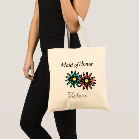 Maid of Honor Name Turquoise Coral Flowers Tote Bag