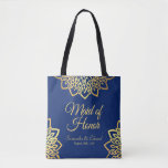 """Maid of Honor Navy Blue Gold Elegant Wedding Tote Bag<br><div class=""""desc"""">Elegant Navy Blue Tote Bag with an intricate faux gold Mandala flower design representing the blossoming of Purity within our Soul. Blue represents both the Sky and the Sea and is associated with open spaces, as well as loyalty, wisdom, and confidence. Perfect for a beautiful Summer happy ceremony. You can...</div>"""