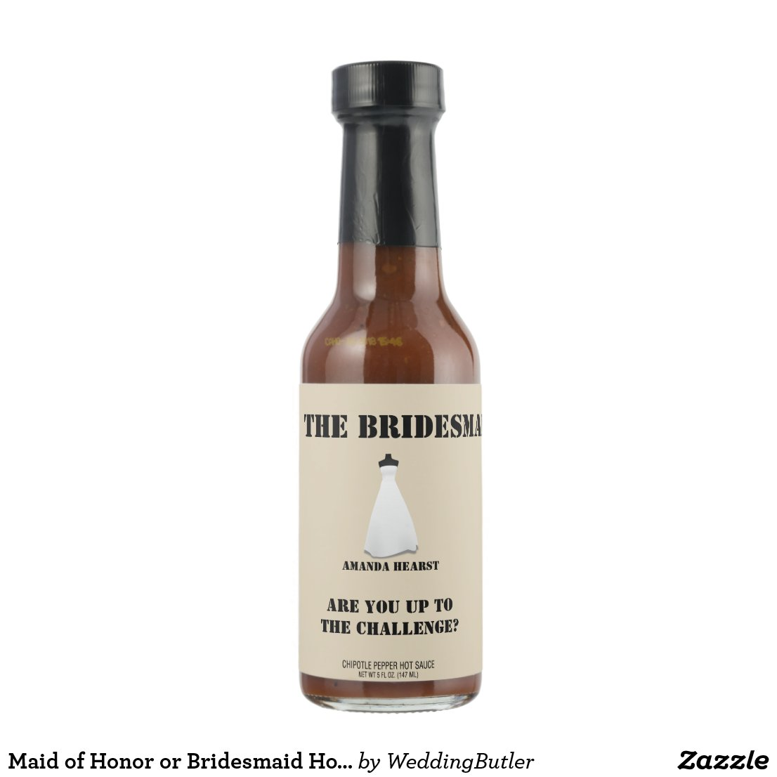 Maid of Honor or Bridesmaid Hot Sauce Invite