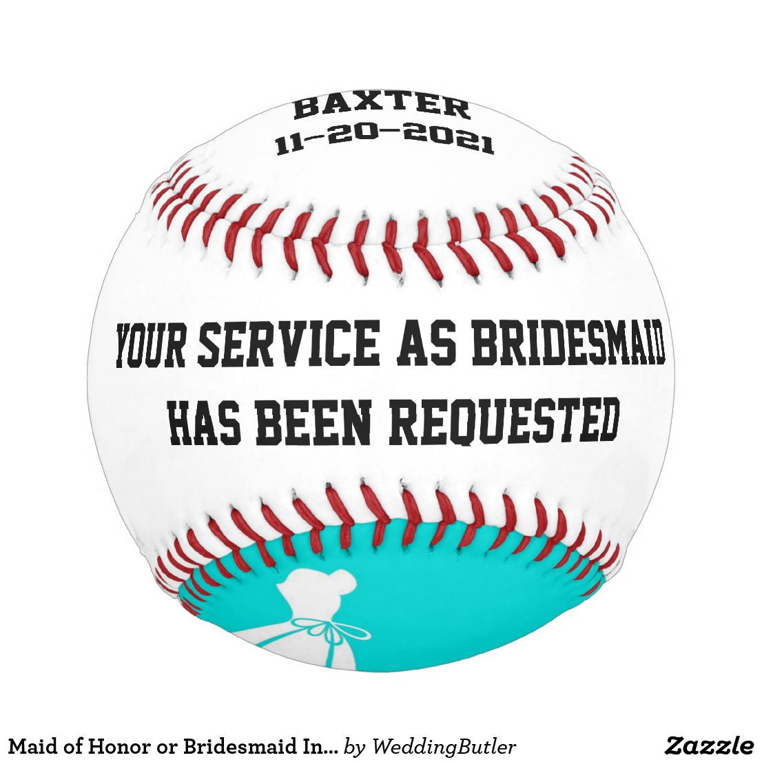 Maid of Honor or Bridesmaid Invite Baseball