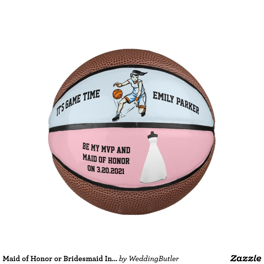 Maid of Honor or Bridesmaid Invite Mini Basketball