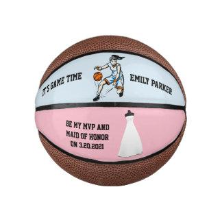 Maid of Honor or Bridesmaid Invite Mini Basketball