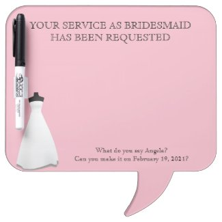 Maid of Honor or Bridesmaid Whiteboard Invite