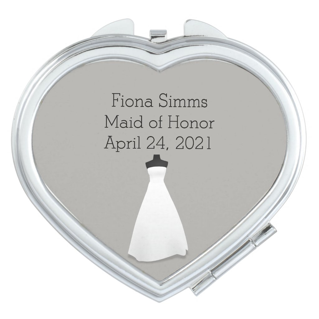 Maid of Honor or Bridesmaid's Heart Compact Mirror