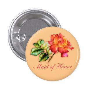 Maid of Honor orange tea rose wedding Pinback Button