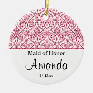 Maid of Honor ornament wedding favor - red elegant