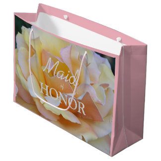 Maid of Honor Pastel Rose Floral Large Gift Bag