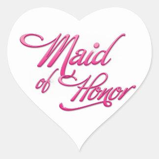Maid Of Honor Calcomania Corazon Personalizadas