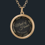 """Maid of Honor Personalized Wedding Necklace Gift<br><div class=""""desc"""">This beautiful gold plated necklace is designed as a wedding gift or favor for the Maid of Honor. Designed to coordinate with our Gold Foil Elegant Wedding Suite, it features a gold faux foil flourish border with the text """"Maid of Honor"""" as well as a place to enter her name....</div>"""
