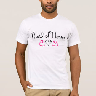 Maid Of Honor Pink Black Hearts T-Shirt