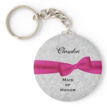 Maid of Honor Pink Bow Silver Damask E001 Keychain