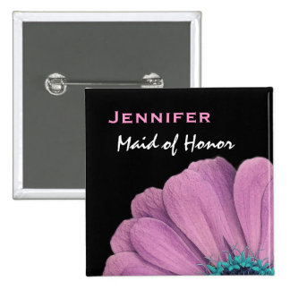 Maid of Honor Pink Daisy Custom Name Wedding Button