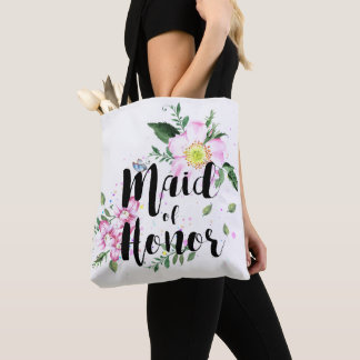 Maid of honor Pink Floral Watercolor Wedding Tote Bag