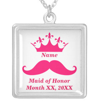 Maid of Honor Pink Mustache Necklace