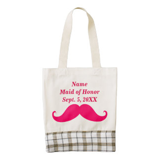Maid of Honor Pink Mustache Tiara HEART Tote Bag