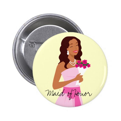 Maid Of Honor Pink Wedding Gown Button