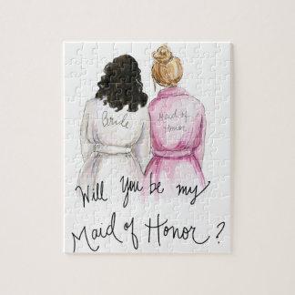 Maid of Honor? Puzzle Dark Curls Bride Dk Bl Bun M