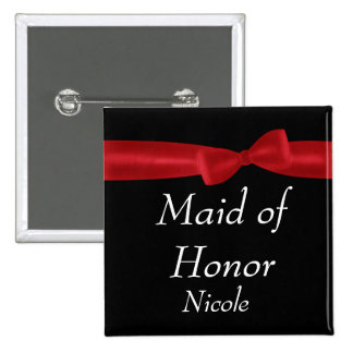 MAID OF HONOR Red Bow Wedding Custom Name Pinback Button