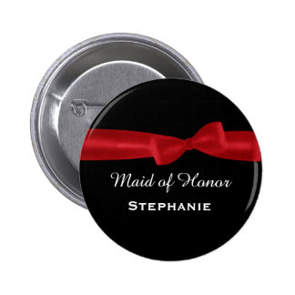 MAID OF HONOR Red Bow Wedding Custom Name V02 Button