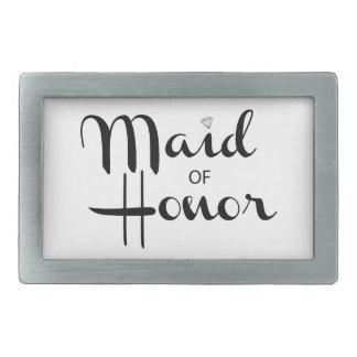 Maid of Honor Retro Script Rectangular Belt Buckle