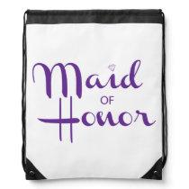 Maid of Honor Retro Script Drawstring Backpack