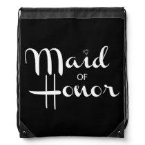 Maid of Honor Retro Script Drawstring Bag