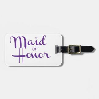 Maid of Honor Retro Script Travel Bag Tag