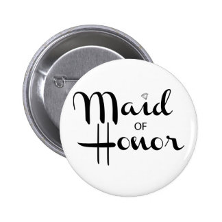 Maid of Honor Retro Script Pinback Button