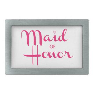 Maid of Honor Retro Script Pink Belt Buckles