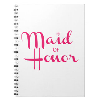 Maid of Honor Retro Script Pink Notebook