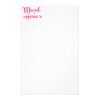 Maid of Honor Retro Script Pink Stationery
