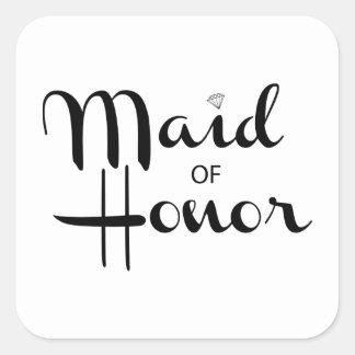 Maid of Honor Retro Script Square Sticker