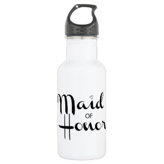 Maid of Honor Retro Script Stainless Steel Water Bottle