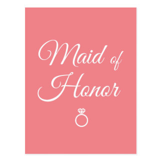 Maid of honor ring postcard