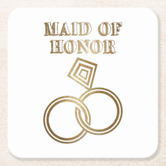 Maid Of Honor Romantic Gold Rings Wedding Square Paper Coaster
