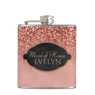 Maid of Honor Rose Gold Glitter Custom Wedding Flask