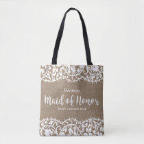 Maid of Honor Rustic Lace Burlap Custom Wedding Tote Bag