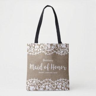 Maid of Honor Rustic Lace Burlap Custom Wedding Tote Bag