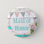 Maid of Honor Shabby Vintage Rustic Wedding Button