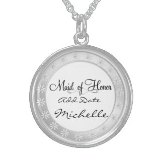 MAID of HONOR Silver Necklace For Bridal Party Gif